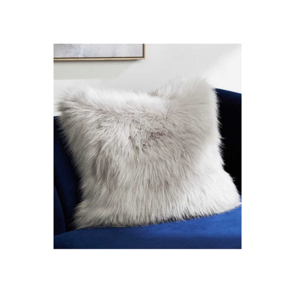 "17""x17"" White Faux Fur Throw Pillow Case"