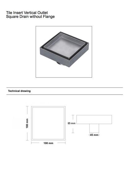 TEUER GERIT FD-1000 Stainless Steel Tile Floor Drain
