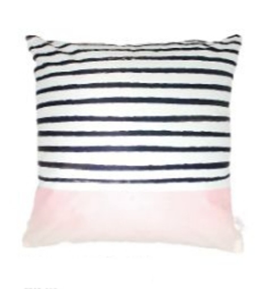 """Style & Collection  17""""x17""""  Pink Stripes & Solid Suede Throw Pillow Case"""