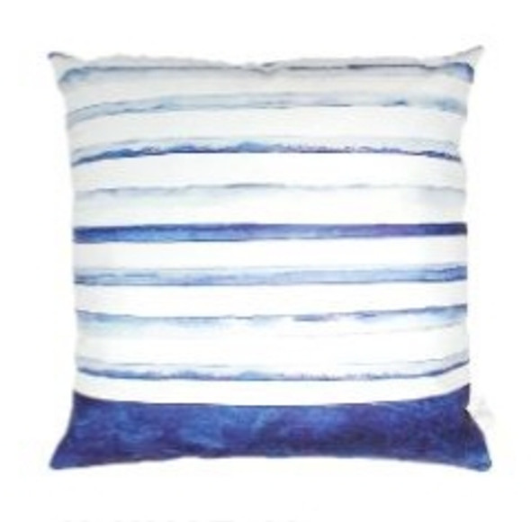 """Style & Collection  17""""x17""""  Blue Stripes & Solid Suede Throw Pillow Case"""