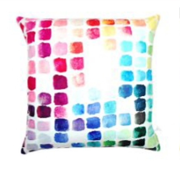 """Style & Collection 17""""x17""""  Watercolor Chart Suede Throw Pillow Case"""