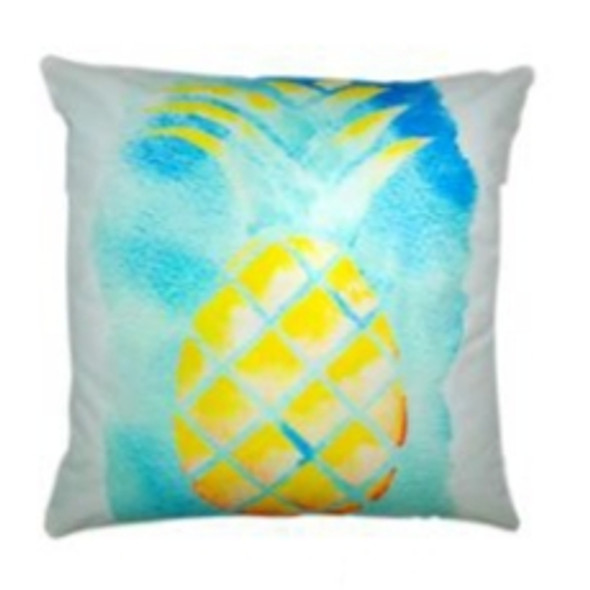 "Style & Collection  17""x17"" Pineapple Watercolor Suede Throw Pillow Case"
