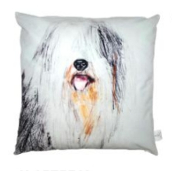 "Style & Collection  17""x17"" Sheep Dog Suede Throw Pillow Case"