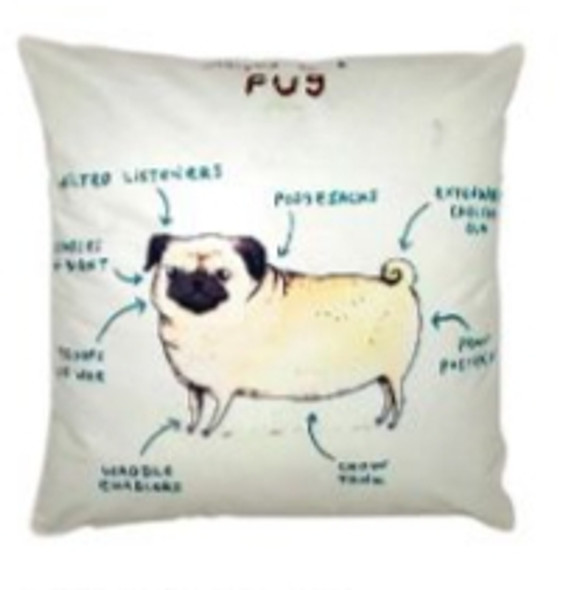 "Style & Collection  17""x17"" Pug Suede Throw Pillow Case"