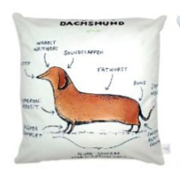 "Style & Collection  17""x17"" Dachsund Suede Throw Pillow Case"
