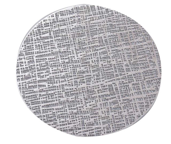 Metallic Silver Round Leatherette Placemat