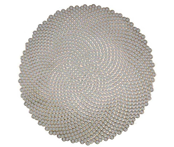 Gold Honey Comb Pattern Round Leatherette Placemat