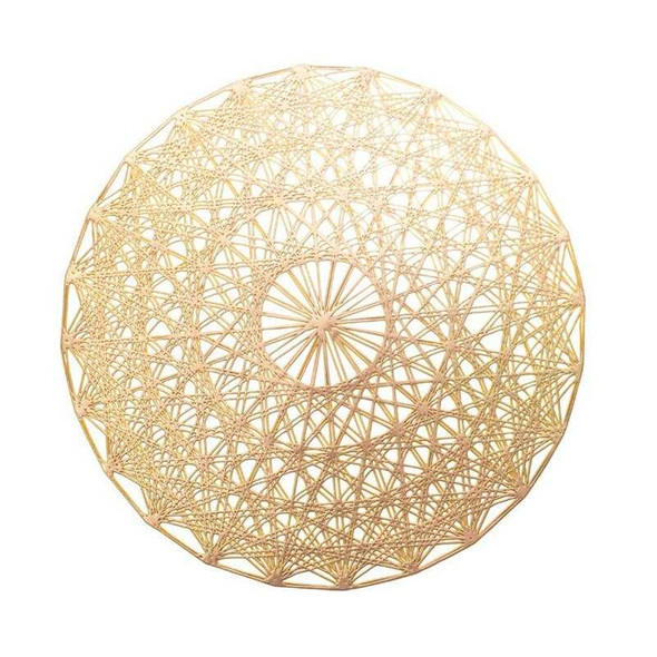 Gold Star Pattern Round Leatherette Placemat