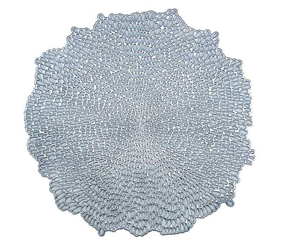 Silver Rain Drops Pattern Round Leatherette Placemat
