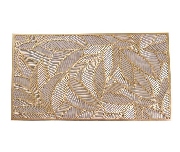 Placemat Gold Leaves Pattern Leatherette