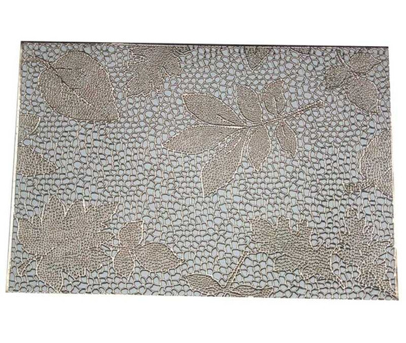 Gold Mesh & Leaves Embossed Design Leatherette Placemat