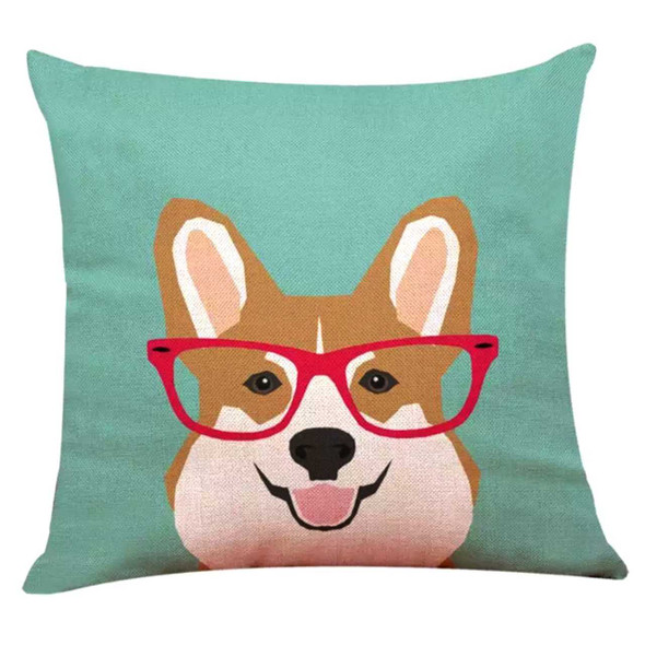 "18""x18"" Pembroke Welsh Corgi Canvass Throw Pillow Case"