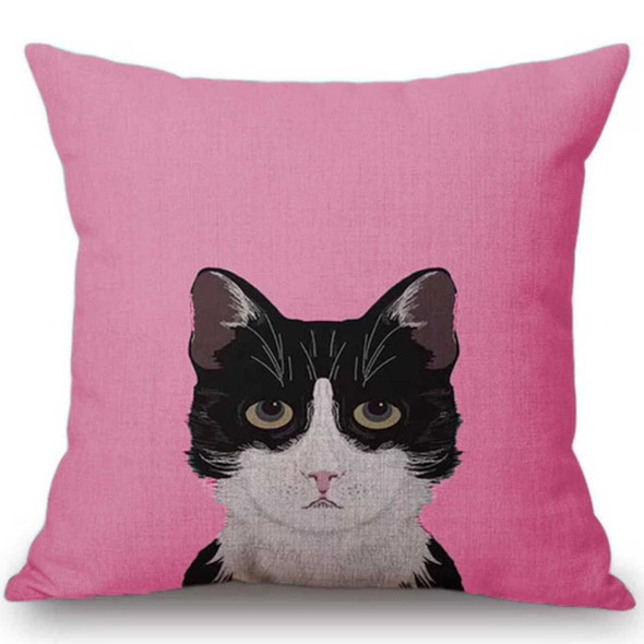 "18""x18"" Black Cat Canvass Throw Pillow Case"