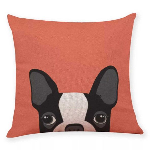 "18""x18"" Black Boston Terrier Canvass Throw Pillow Case"
