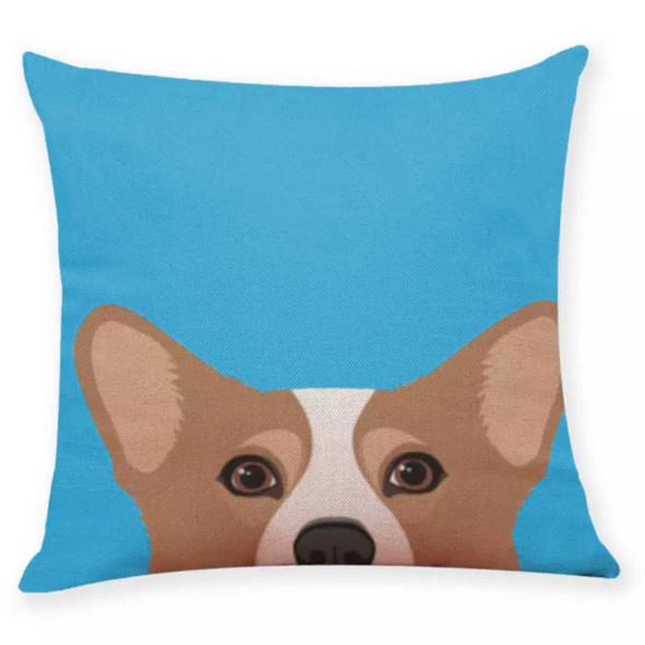 """18""""x18"""" Brown Corgi Canvass Throw Pillow Case"""