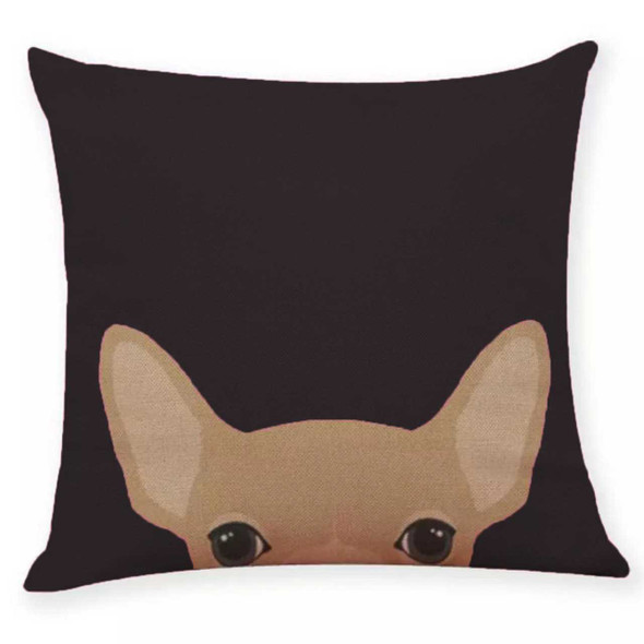 "18""x18"" Chihuahua Canvass Throw Pillow Case"