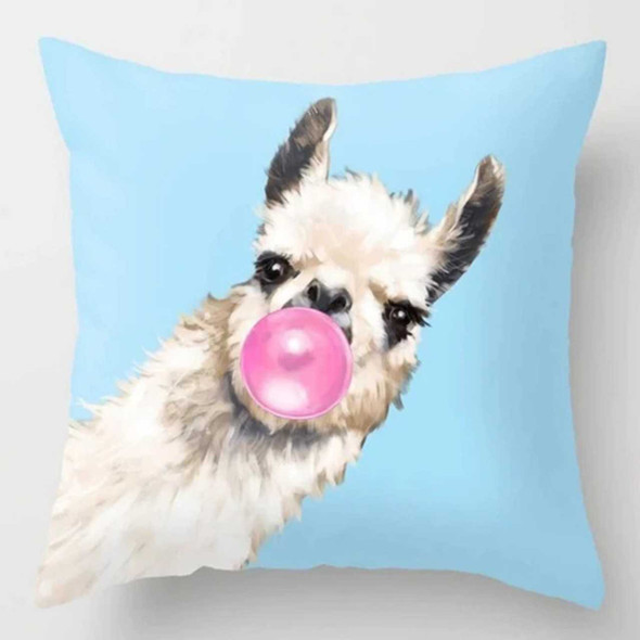 "18""x18""  Llama with Bubble Green Background Canvass Throw Pillow Case"