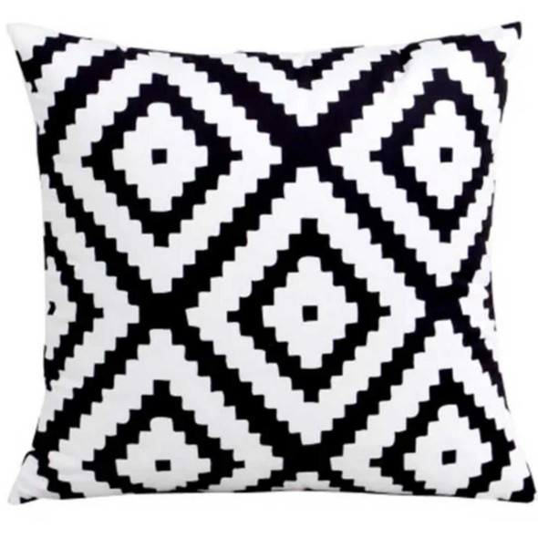 "18""x18"" Zigzag Diamond Canvass Throw Pillow Case"