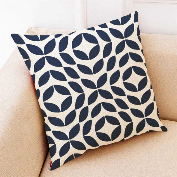 "18""x18"" Geometric Petals Canvass Throw Pillow Case"
