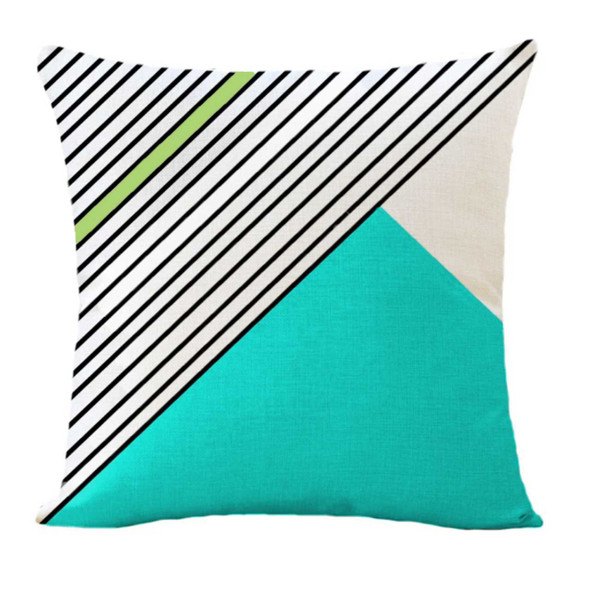 "18""x18"" Side Stripes Aqua Canvass Throw Pillow Case"