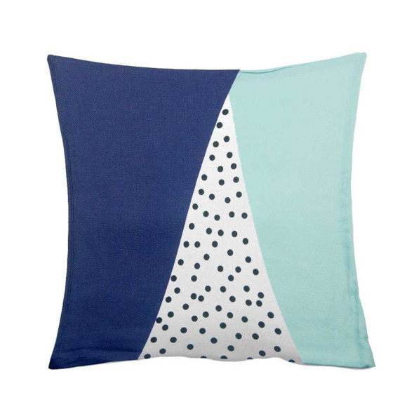 "18""x18"" Dotted Navy Blue Canvass Throw Pillow Case"