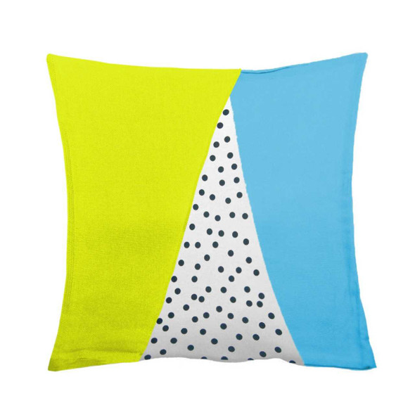 "18""x18"" Dotted Green Side Canvass Throw Pillow Case"