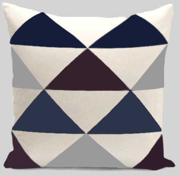 "18""x18"" Triangular Print  Canvass Throw Pillow Case"