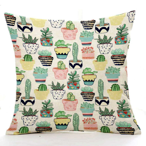 "18""x18"" Assorted Cactus in Pots  Canvass Throw Pillow Case"