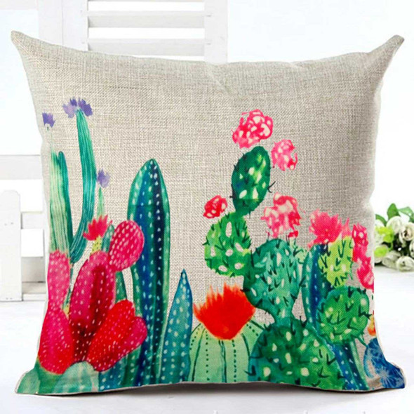 "18""x18"" Cactus Canvass Throw Pillow Case"