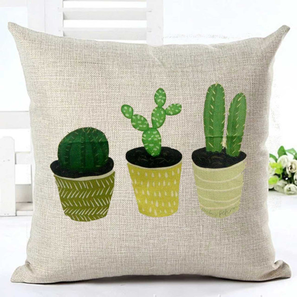 "18""x18"" 3 Cactus Canvass Throw Pillow Case"