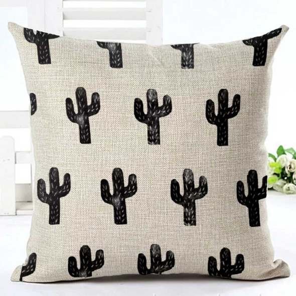 "18""x18""  Gray Cactus Canvass Throw Pillow Case"