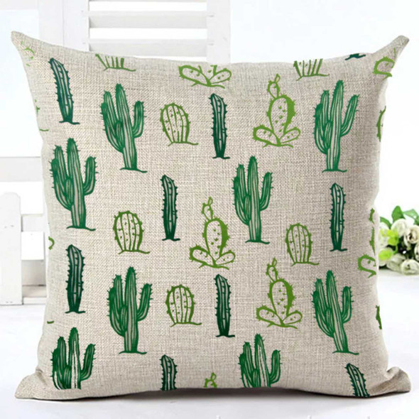"18""x18"" Green Assorted Cactus  Canvass Throw Pillow Case"