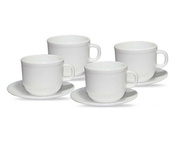 OC-Lyra 8PC Opal Plain Cup and Saucer Set with Gift Box
