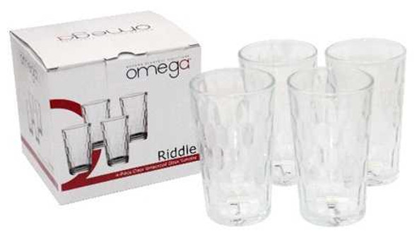 GL-Riddle-12-GB 4pc 12oz Clear Embossed Glass Tumbler with Gift box