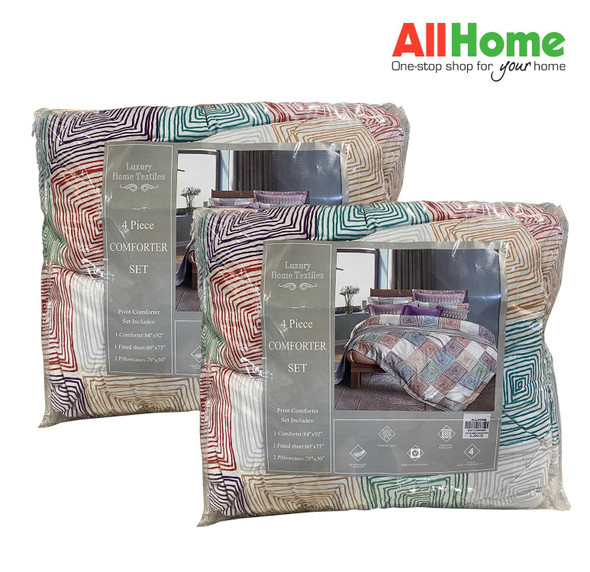 "Buy 1 Take 1 Luxury Home Textiles 4 Piece Comforter Set Assorted Design 84""x92"" Queen"