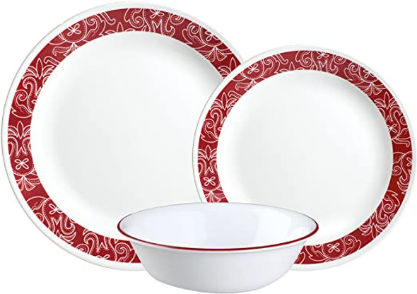 [EXCLUSIVE]Corelle 1126750 18pc Bandhani Dinnerware set - Crimson Trellis