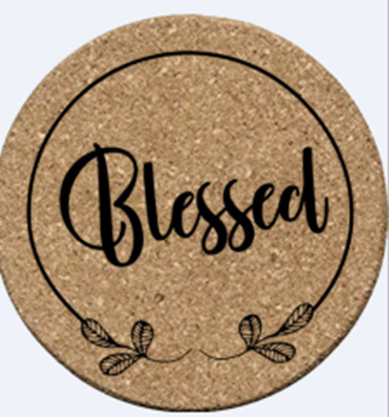 """COR004-19 2PC CORK HOT PLATE COASTER """"BLESSED"""""""