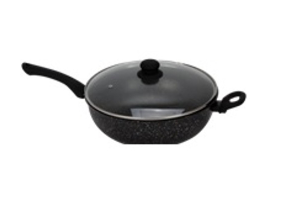 MPCW 1754 30CM WOK WITH GLASS LID MARBLE FINISH