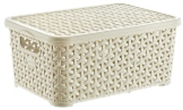 6 LITERS RATTAN STORAGE BOX W/LID (WHITE)