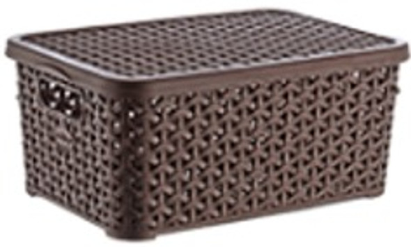 6 LITERS RATTAN STORAGE BOX W/LID (BROWN)