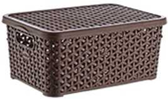 10 LITERS RATTAN BIG STORAGE BOX W/LID (BROWN)