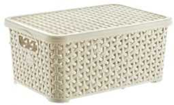 10 LITERS RATTAN BIG STORAGE BOX W/LID (WHITE)