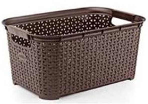RATTAN RECTANGLE LAUNDRY BASKET 26L (BROWN)