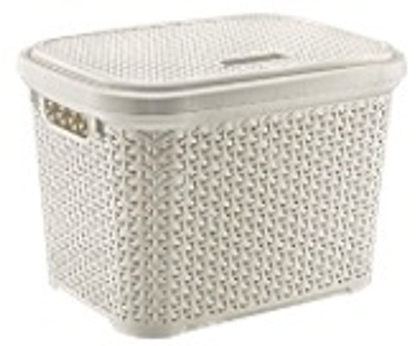 20L  RATTAN STORAGE BASKET (WHITE)