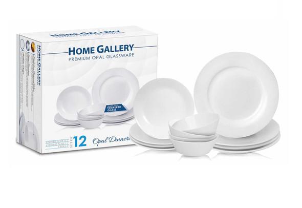 Home Gallery Premium Set of 12 Opal Dinnerware Set