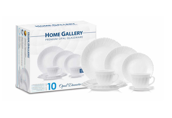 HG-10PDS/P 10pc Dinnerware Premium Opal Glassware set