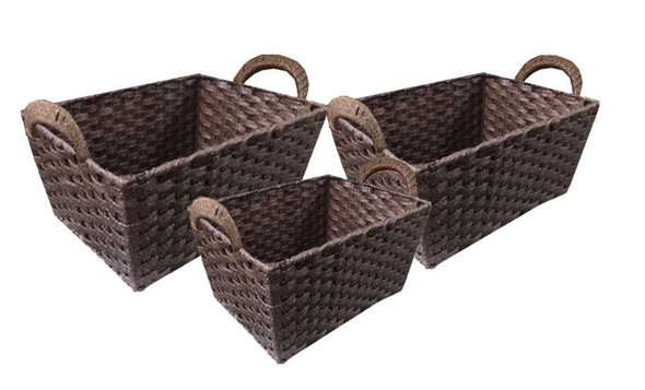 SYNTHETIC BASKET WITH HANDLE (BROWN)