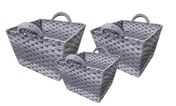 SYNTHETIC BASKET WITH HANDLE (GREY)