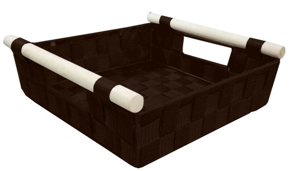 NON WOVEN RECT. BASKET WITH WOOD HANDLE (CHOCO BROWN)