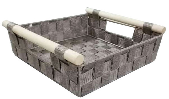 NON WOVEN RECT. BASKET WITH WOOD HANDLE (GREY)
